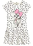 EGELEXY Kid Girl's Cotton Cat Print Short Sleeve Tutu Dress 5-6Years White