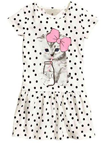 EGELEXY Kid Girl's Cotton Cat Print Short Sleeve Tutu Dress 5-6Years White