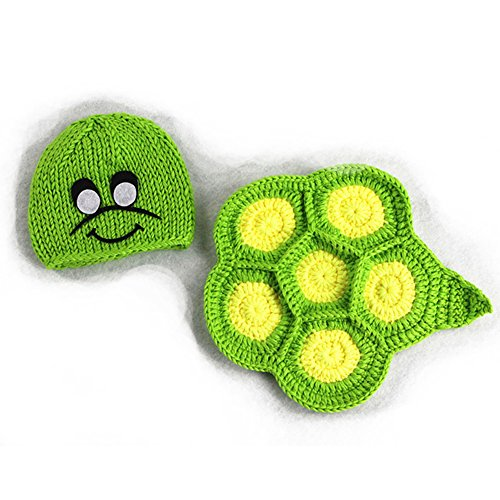 Fashion Newborn Boy Girl Baby Costume Outfits Photography Props Outfits Green Tortoise Set -