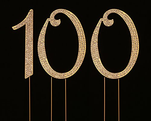 Numbrer 100 for 100th Birthday or Anniversary Cake Topper Party Decoration Supplies, Gold, 4.5 Inches Tall -