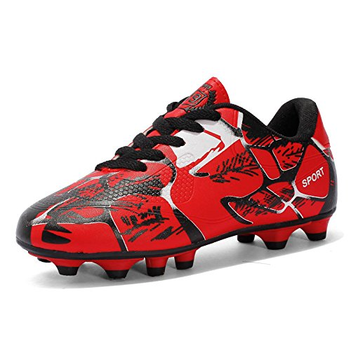 Xing Lin Chaussures De Football LEnfant Ressort Formation Antidérapante Chaussures Big Boy Kicking Ongles Courts Adultes Enfants Chaussures Chaussures De Sport Football Nouveau, 36, Rouge
