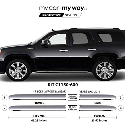 MY CAR MY WAY (Fits) GMC Yukon 2007-2014 Chrome Body Side Molding Cover Trim Door ()