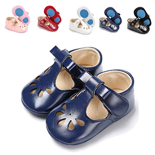 Sakuracan Infant Baby Girls Mary Jane Flats Non-Slip Soft Soled Toddler First Walkers Crib Shoes Princess Dress Shoes (0-6 Months M US Infant, E-Navy)