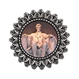 GiftJewelryShop Ancient Style Silver Plate Lincoln Memorial Washington Dc Leaves Cameo Pins Brooch