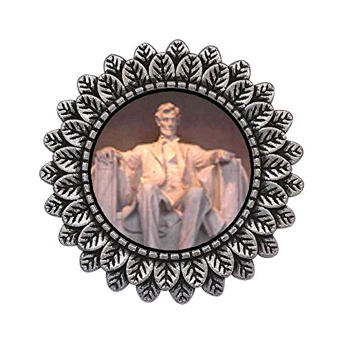 - GiftJewelryShop Ancient Style Silver Plate Lincoln Memorial Washington Dc Leaves Cameo Pins Brooch