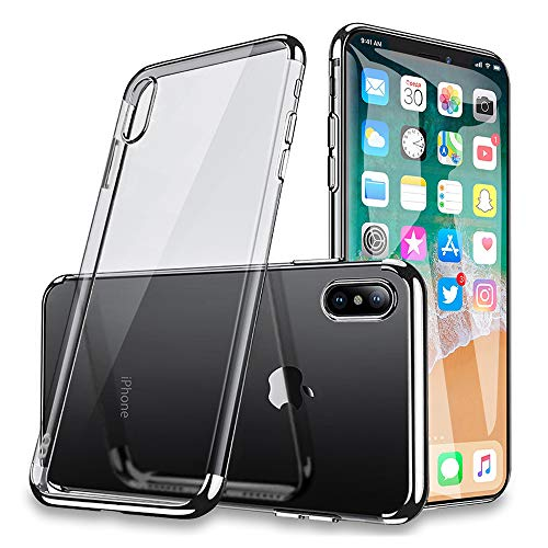 GradCap iPhone Xs Chrome Case, Electroplating Case for iPhone X/iPhone Xs, Ultra-Slim Transparent Crystal Clear Anti-Yellowing Soft Gel Cover for Apple iPhoneX/IPhoneXS (Clear Back + Silver)