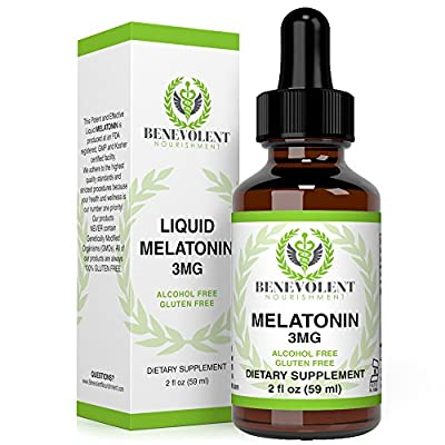 Melatonin 3MG Liquid Alcohol Free and 100% Gluten Free 2oz Bottle. by Benevolent Nourishment