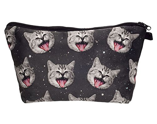 Cat Kitty Makeup (Smiling Space Kitty Cat Cosmetic Travel Zipper Bag For Kids, Teens, & Adults Multi Use 9 in. x 5)
