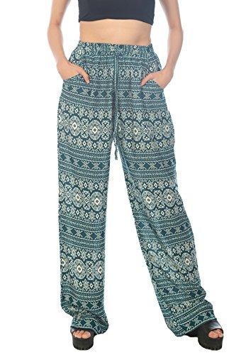 LofBaz Mujer Pantalones Palazzo con Diseño Impreso Design #2 Verde