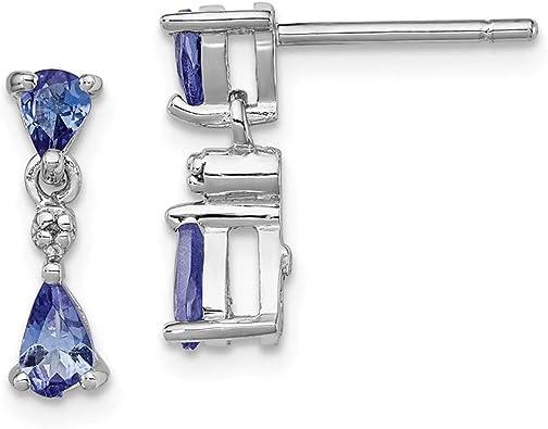 Mia Diamonds 14k White Gold Tanzanite Earrings