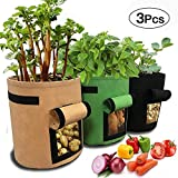 3 Pack Potato Grow Bag-8 Gallon Vecro Window Vegetable Grow Bag, Double Layer Premium Breathable Nonwoven Cloth(Brown+Green+Black)