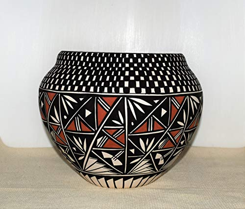 (Large Hand Painted Authentic Acoma Pueblo Pottery Bowl By Concho)
