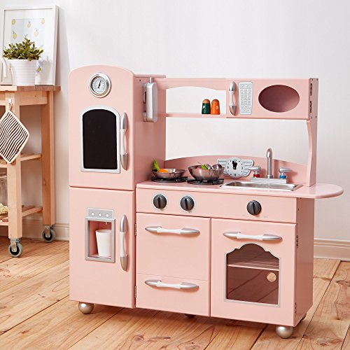 Teamson Kids - Retro Wooden Play Kitchen with Refrigerator, Freezer, Oven and Dishwasher - Pink (1 (Kids Kitchen Refrigerator)