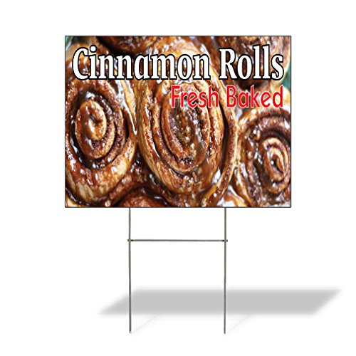 Corrugated Plastic Rolls - Cinnamon Rolls Fresh Baked Outdoor Lawn Decoration Corrugated Plastic Yard Sign - 18inx24in, Free Stakes