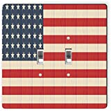 Rikki Knight 8615 Double Toggle America Flag On Distressed Wood Design Light Switch Plate