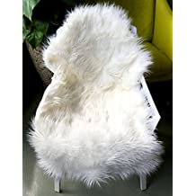 OJIA Deluxe Soft Faux Sheepskin Chair Cover Seat Pad Plain Shaggy Area Rugs For Bedroom Sofa Floor (Ivory White, 2ft x 3ft)