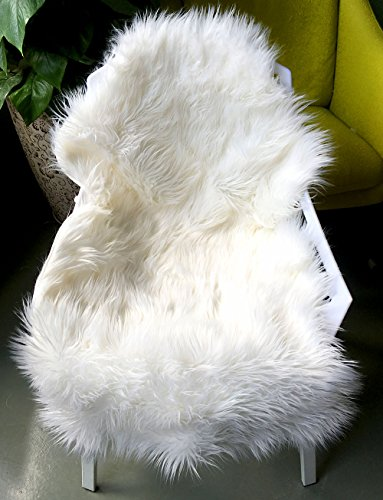 ojia deluxe soft faux sheepskin chair cover seat pad plain shaggy area rugs bedroom sofa floor ivory white 2ft x 3ft