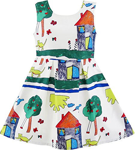 JQ45 Girls Dress House Tree Cat Bird Print Party Size - Of Sunnies House