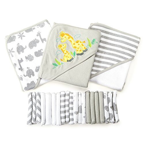 Spasilk 23-Piece Essential Baby Bath Gift Set, Grey