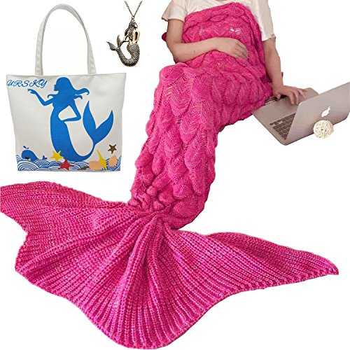[URSKY Crochet Knitted Sofa Living Room Mermaid Tail Blanket, Cozy and Soft All Season Mermaid Tail Pattern Throw Sleeping Bag For Adult, Teens and Child (Scale Fancy Tail Rose Red] (Baby Fish Costume Diy)