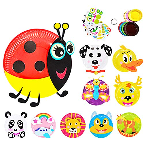 (Here Fashion Pack of 10 Paper Plate Art Kit for Kids Toddler Crafts Art Toys - Transform Simple Paper Plates into Friendly Animals, Perfect for Craft Parties, Groups and the)