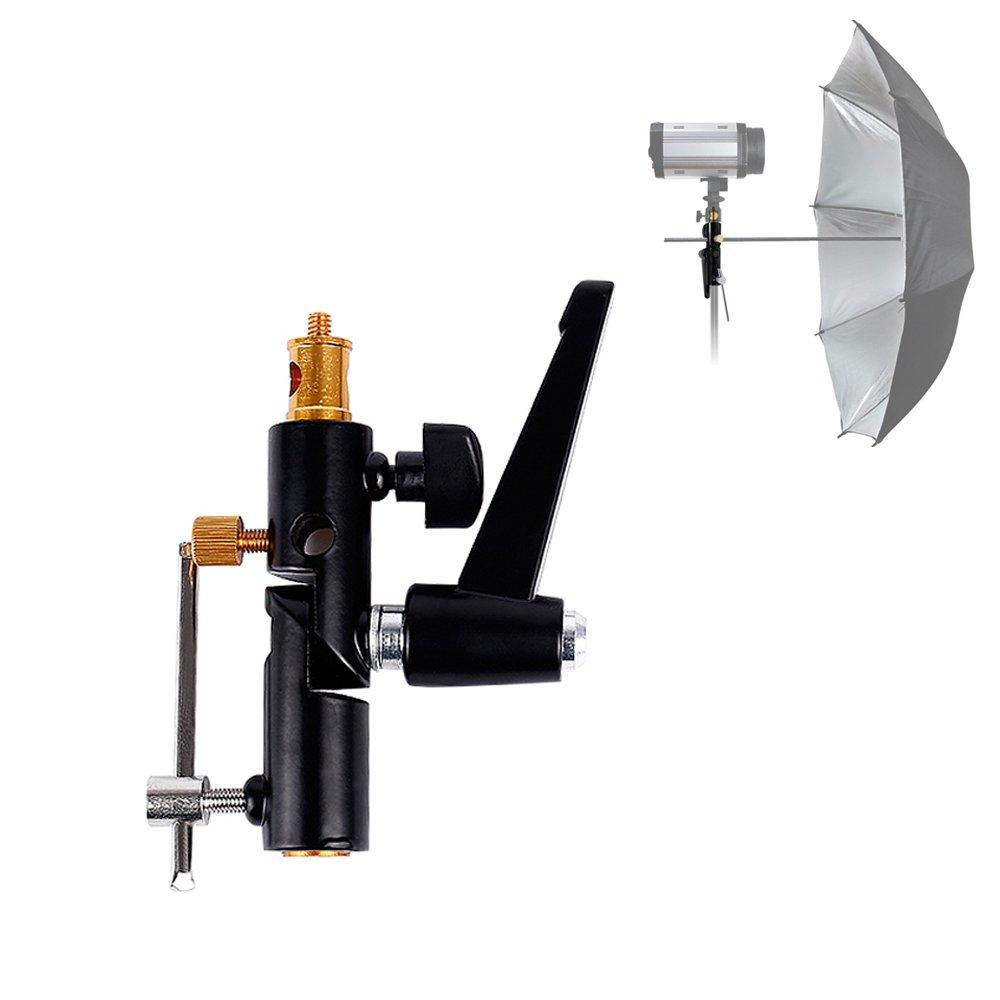 Flash Shoe Bracket Mounts, Multi Functional Umbrella Reflector Insert Hole Holder, Light Stand Mount, 1/4'' Screw Stud, 1/4'' 4/8'' Inch Female Screw Thread by Konseen