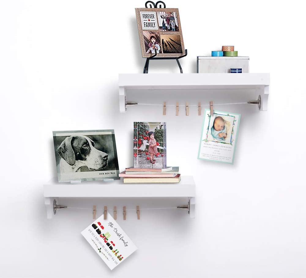 AHDECOR Wall Mounted Floating Shelves, White Wooden Wall Ledge and Shelf with Photo Cards Clips for Home Decor, 15 X 5.9 X 3.7 Inch, 2-Pack