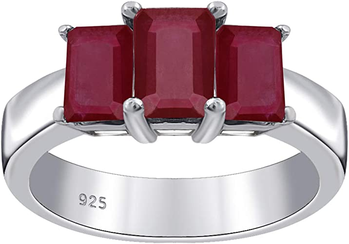 Amazon Com 2 65 Ct Red Octagon Shape Ruby 925 Sterling Silver