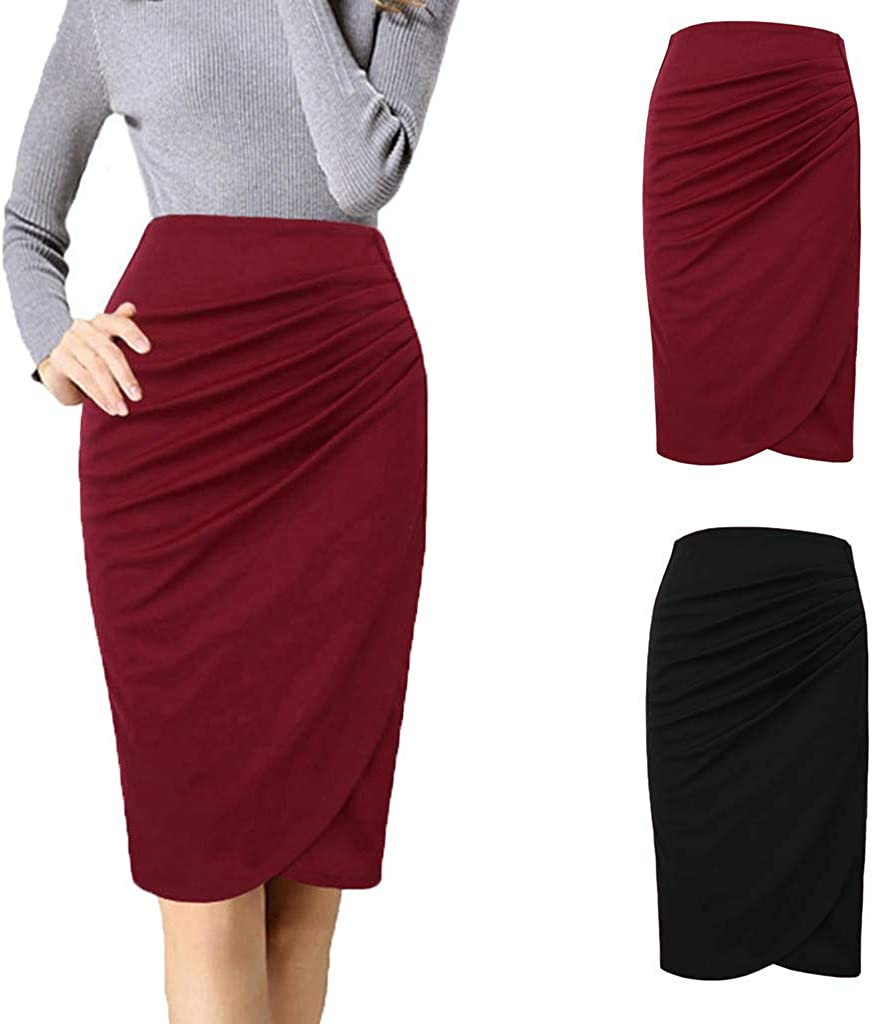 VEZAD Women Elastic Waist Stretch Bodycon Solid Color Formal Pencil Office Skirt