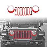 jeep grill overlay - 2018 Jeep Wrangler JL Mesh Grille Grill Insert+Headlight Turn Light Cover Trim(Red)