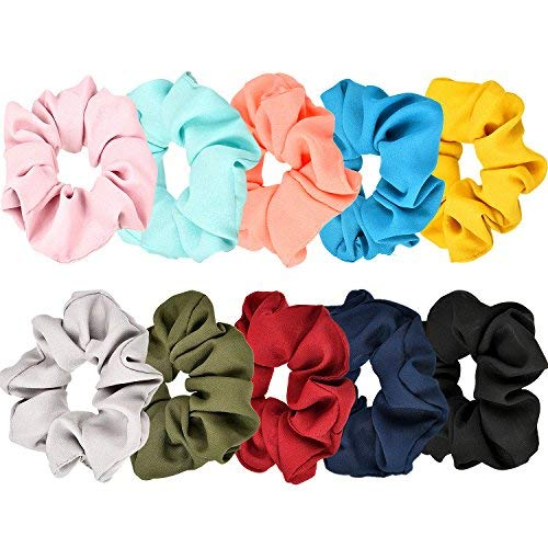 Lvcky 10 Pieces Hair Scrunchies Hair Bobbles Scrunchies Chiffon Flower Hair Bow Elastic Ponytail Holder for Women and Girls, 10 Colors