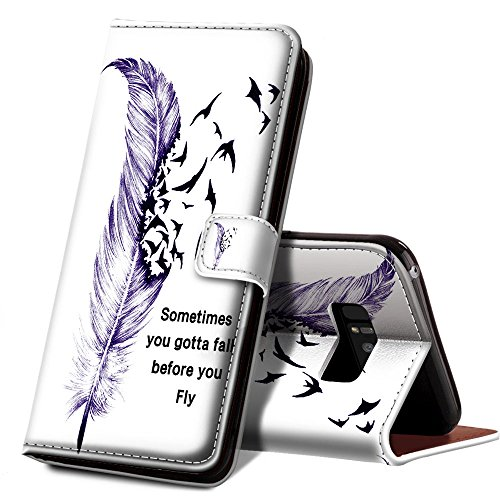 ONSPACE Wallet Case For Samsung Galaxy Note 8, Magnetic Protective Cover Case Card Slots and Wrist Strap, Custom Printed Purple Feather and Birds, PU leather Stand Feature Galaxy Note 8 Case