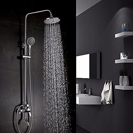 PEIWENIN-Cuarto de baño de ducha conjunto de cobre de compresor grifo de la ducha caliente y fría de suspensión de pared montado en el baño de ducha boquilla