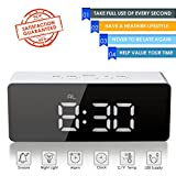 oenbopo Digital LED Alarm Clock, Portable Mirror Alarm Clock Large LED Display with Snooze Time Temperature Function for Bedroom, Office, Travel - Battery Powered & USB Powered (White Digital)
