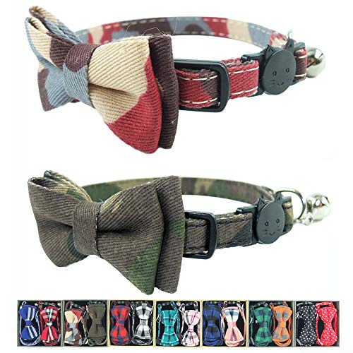 Pipidog Cat Collar Bowtie with Bell, Quick Release Buckle Safety and Durable Kitties Kittens Cats Breakaway Collar Set of 2 PCS(6.8-10.8in) (Camouflage 1&Camouflage 2)