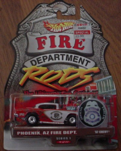 Hot Wheels Fire Department Rods Series 1 #6 6/12 Phoenix, AZ '57 Chevy Hot Wheels Fire Rods