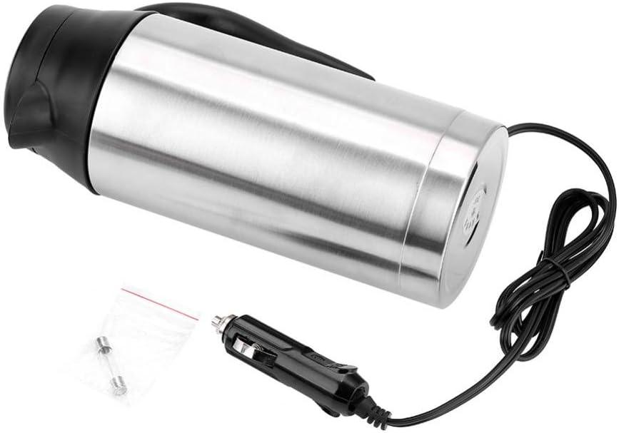 Filfeel Hervidor de agua-Taza de Ebullición de Acero Inoxidable 24V 750ml (8,66 Pulgadas de Alto) para Vehículos Automóviles