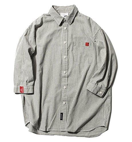 ワット壊すしたがって(ハバー) Habor カジュアルシャツ メンズ 七分袖 長袖 ボタンアップ シャツ トップス ストライプ 開襟シャツ 綿