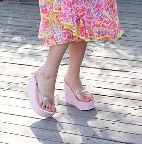 La vogue Damen Zehentrenner Keilabsatz Nach-Sohle 10.3cm Pink