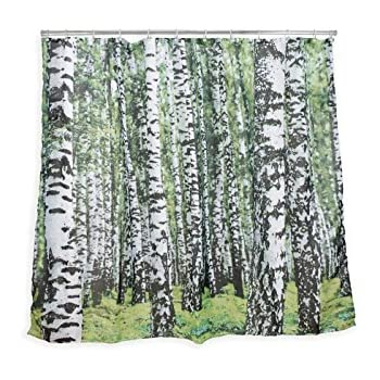 Kikkerland Birch Forest Shower Curtain