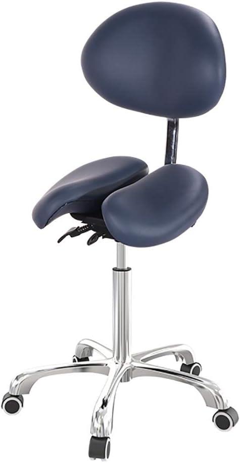 スタイリングチェア 美容室椅子 戻るスイベル人間工学ために診療所の歯科医スパマッサージサロンStudioとのハメスツール付ホイールサドルチェア (Color : Blue)