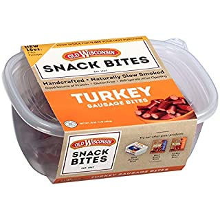 Old Wisconsin Turkey Sausage Snack Bites, Naturally Smoked, Ready to Eat, High Protein, Low Carb, Keto, Gluten Free, 16 Ounce Resealable Tub with Two Stay-Fresh 8 Ounce Packs