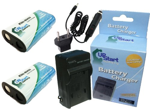 2x Pack - Kodak Easyshare Z1012 IS Battery + Charger with Car & EU Adapters - Replacement for Kodak KLIC-8000 Digital Camera Battery and Charger (2000mAh, 3.7V, Lithium-Ion) by UpStart Battery