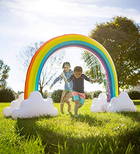 (Sprinkler Inflatable Rainbow Arch Toy Outdoor Water Play Sprinklers Over 6 Feet Long Summer Fun Backyard Play for Infants Kids)