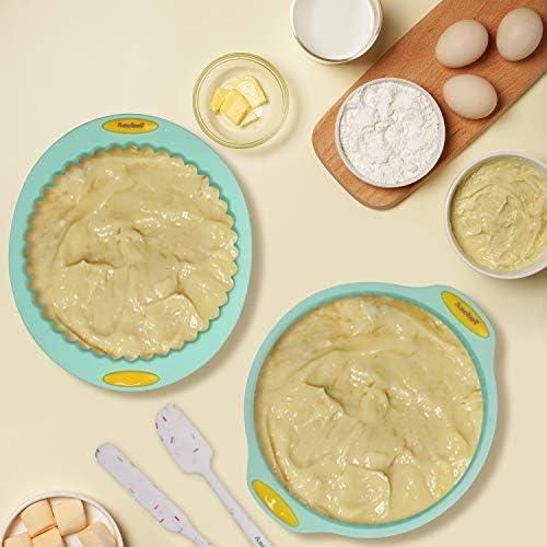 Aschef 15 en 1 casseroles en silicone outils de moule outils de cuisson ensemble pour muffin beignets pizza mousse gâteau pain tarte biscuit antiadhésif résistant à la chaleur sans BPA vert