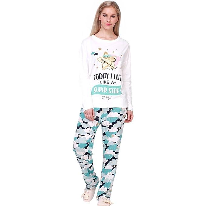 Harson&Jane Super Star Loungewear Set Top algodón Pijama Pijamas Ropa de Dormir (XS)