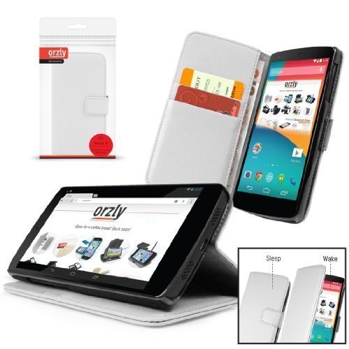 Orzly - Multi-Function Wallet Case for LG NEXUS 5 - WHITE Leather Effect Wallet Style Phone Case (Best Nexus 5 Covers India)