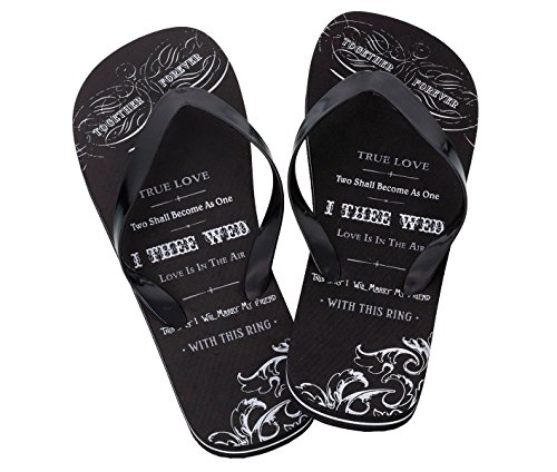 (Lillian Rose Men Large Size 12 Just Married Imprint Honeymoon Flip Flops)