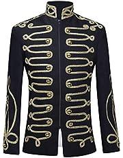 WOOGOD Middeleeuwse jas voor heren, militaire blazer, gothic blazer, opstaande kraag, outwear, cosplay, uniform, party, uniform, voor carnaval, Halloween, Kerstmis, middeleeuwse kleding