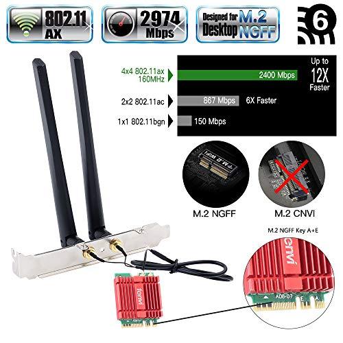 fenvi Dual Band AX WiFi Card AX200 Mini Desktop Wi-Fi 6 AX Wireless WiFi 6 2x2 MIMO NGFF M.2 2230 WiFi Card only for m.2 Desktop 2.4Ghz/5Ghz 160Mhz BT 5.0 2.4Gbps Wi-Fi Miracast vPro